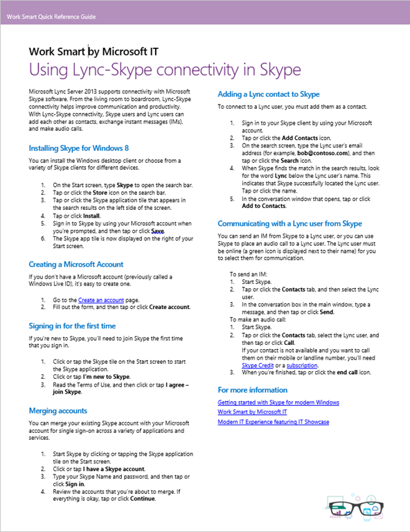 how to connect to lync using skype